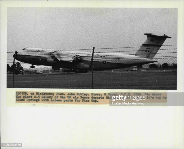 The giant C5 Galaxy of the US Air Force departs Richmond RAAF base on it's way to Alice Springs with antena parts for Pine Gap January 29 1985