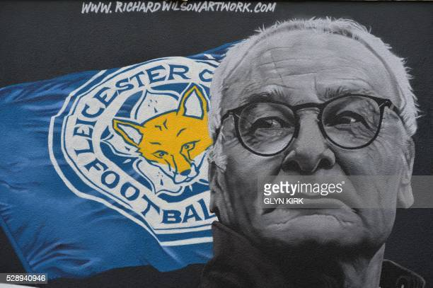 The giant mural of Leicester City's Italian manager Claudio Ranieri created by artist Richard Wilson is pictured in Leicester central England on May...