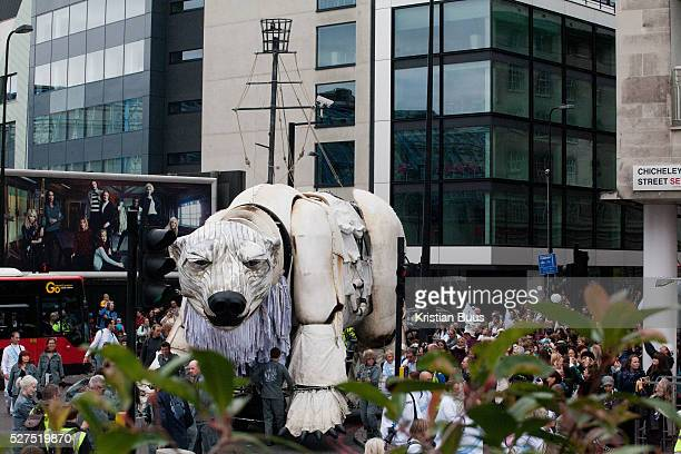 The giant polar bear puppet Aurora made by Greenpeace walked the streets of London in defence of the Arctic as part of a Greenpeace global day of...