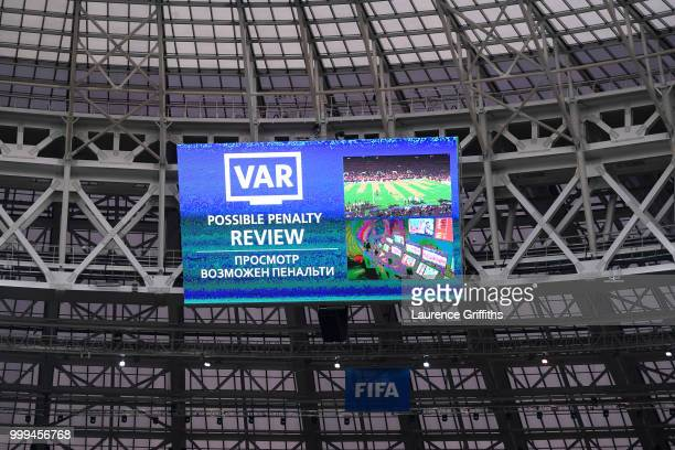 The giant screen announces a VAR review during the 2018 FIFA World Cup Final between France and Croatia at Luzhniki Stadium on July 15 2018 in Moscow...