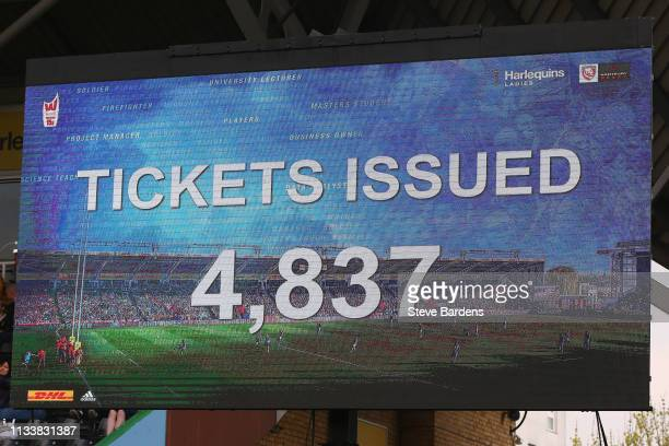The Giant screen shows a record attendance of 4837 for a Women's club match during the Harlequins Ladies v Gloucester Hartpury Tyrrells Premier 15s...