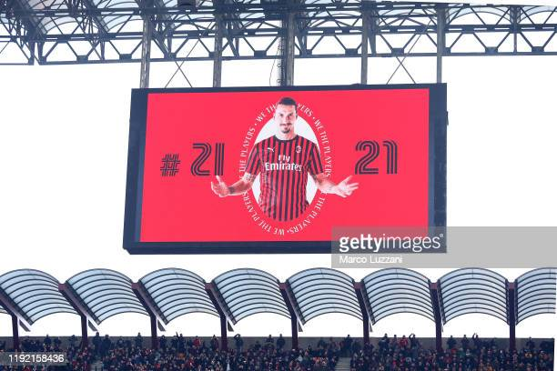 The giant screen shows the picture of Zlatan Ibrahimovic before the Serie A match between AC Milan and UC Sampdoria at Stadio Giuseppe Meazza on...