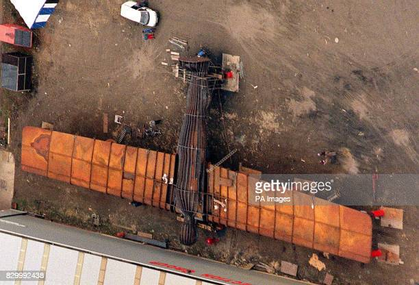 The giant steel sculpture of The Angel Of The North lies in the yard of the Hartlepool works where it was built before being moved by road tomorrow...
