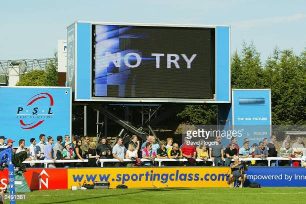 The giant television screen at the Zurich Premiership match between Harlequins and Wasps at the Stoop Ground on September 13 2003 in London