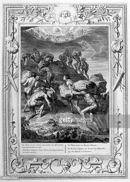 The giants attempt to scale Heaven by piling mountains upon one another 1733 A plate from Le Temple des Muses Amsterdam 1733 Found in the collection...