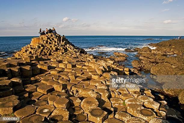 The Giant's Causeway, outcrop of interlocking basalt columns on the coast near Bushmills, Northern Ireland, United Kingdom.