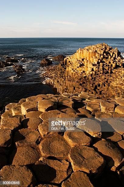 The Giant's Causeway outcrop of interlocking basalt columns on the coast near Bushmills Northern Ireland United Kingdom