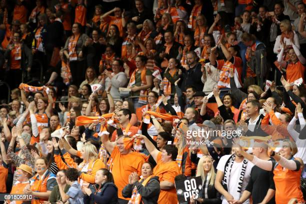 The Giants supporters celebrate victory during the Super Netball Major Semi Final match between the Giants and the Magpies at Sydney Olympic Park...