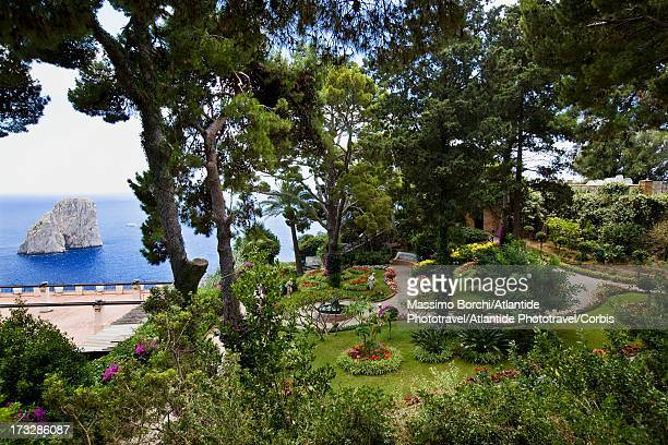 the giardini di augusto and the faraglioni - campania stock pictures, royalty-free photos & images