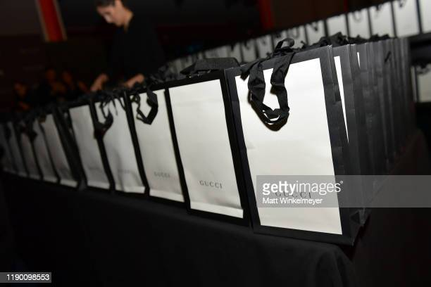 The gift bag is displayed during the 2019 LACMA Art Film Gala Presented By Gucci at LACMA on November 02 2019 in Los Angeles California