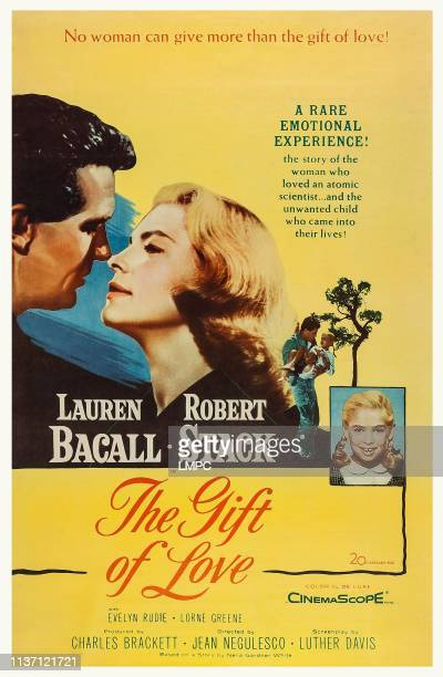 The Gift Of Love, poster, US poster art, from left: Robert Stack, Lauren Bacall, Evelyn Rudie, 1958.