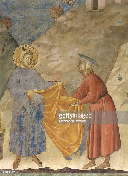 'The Gift of the mantle by Giotto 12971299 13th century fresco Italy Umbria Assisi Upper Basilica of San Francesco Detail St Francis gives his cloak...