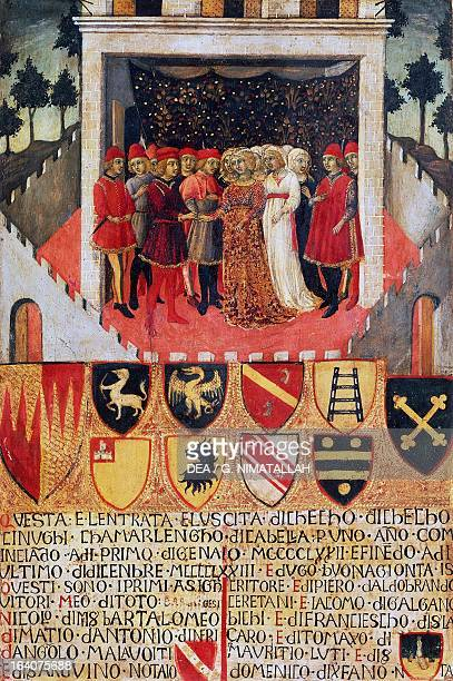 The gift of the ring wedding scene between Sienese noble families by Sano di Pietro Biccherna tablet tempera and gold on wood 53x38 cm Siena Archivio...