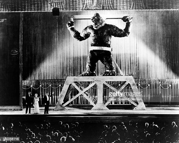 The gigantic ape Kong in shackles at a Broadway theatre in 'King Kong' directed by Merian C Cooper and Ernest B Schoedsack 1933