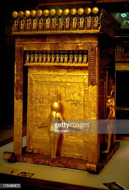The gilded canopic shrine found in Tut Ankh Amon's tomb in the Valley of Kings on display at the Egyptian Museum in Cairo Egypt