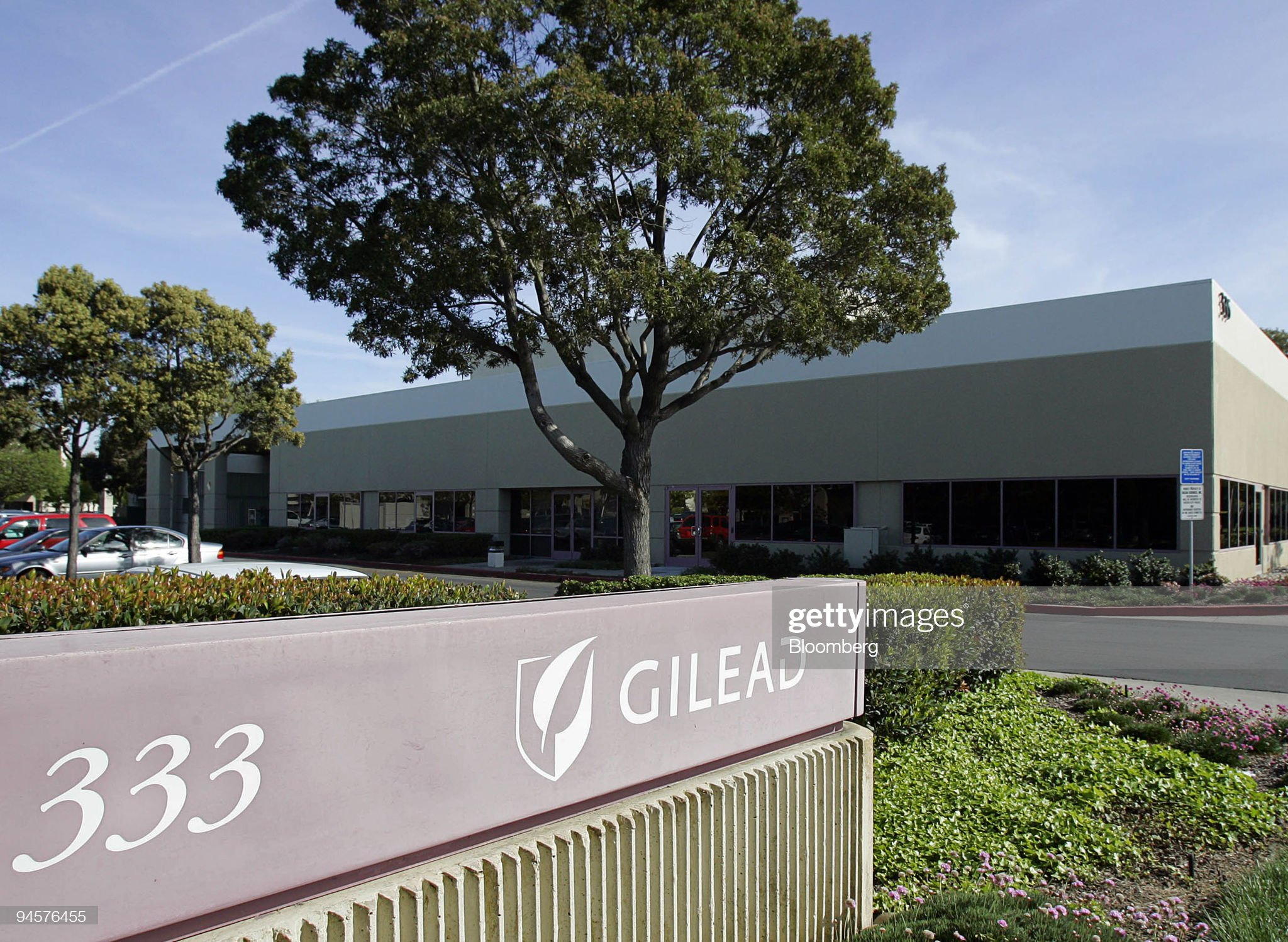 The Gilead Sciences Inc. sign is seen outside the company's : News Photo
