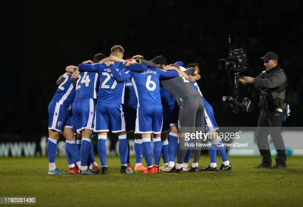 The Gillingham team prior to kick-off during the FA Cup Third Round match between Gillingham and West Ham United at MEMS Priestfield Stadium on...