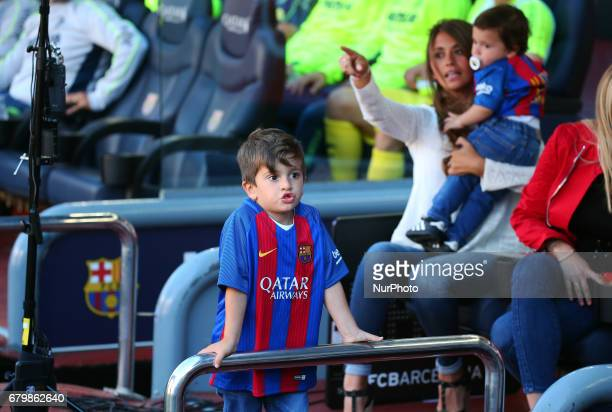 The gilrl friend of Leo Messi Antonella Roccuzzo with his children Mateo and Thiago during the match between FC Barcelona and Villarreal CF on May 06...