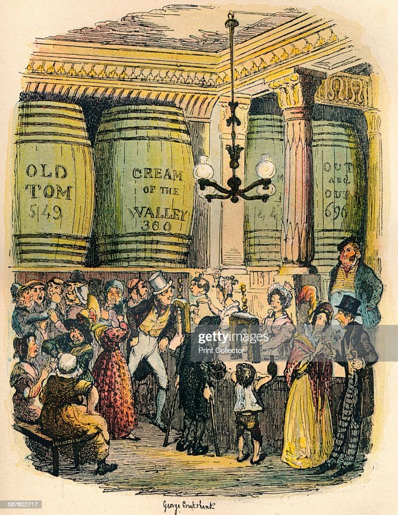 'The Gin Palace', c1900. An illustration for Hard Times by Charles Dickens. From Hard Times and Sketches by Boz, Volume XI, by Charles Dickens. [Blackwood, Le Bas & Co., London, c1900].
