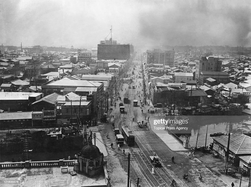 The Ginza in Tokyo, a year after the 1923 Great Kanto Earthquake, 1924.
