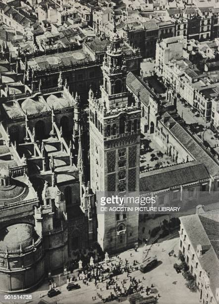 The Giralda the bell tower of the Seville Cathedral in Seville Spain photo from L'illustrazione Italiana year LIX n 37 September 11 1932