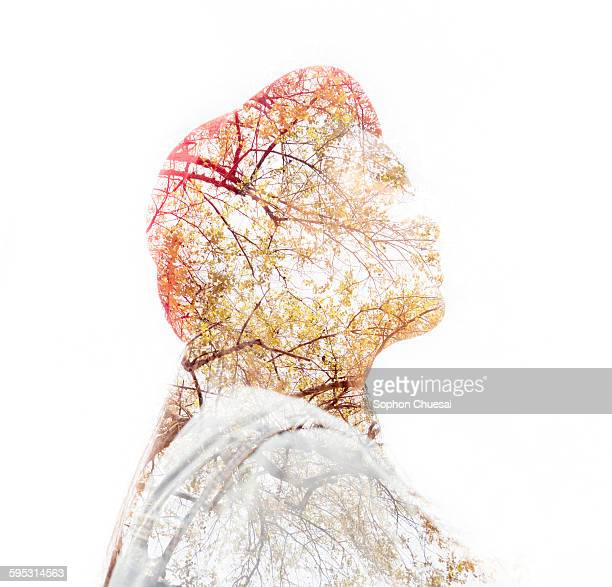 The girl and tree double exprosure