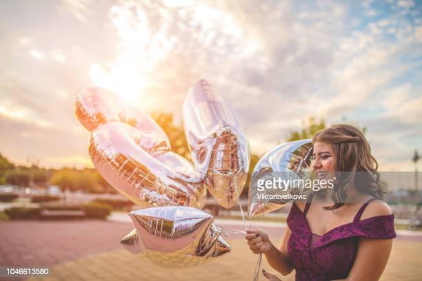 the girl celebrates the 18th birthday - funny birthday stock pictures, royalty-free photos & images
