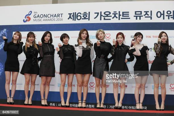 The girl group TWICE attends the 6th Gaon Chart KPop Awards on February 22 2017 in Seoul South Korea