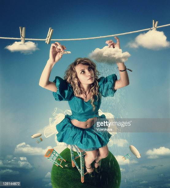 The girl hanging clouds