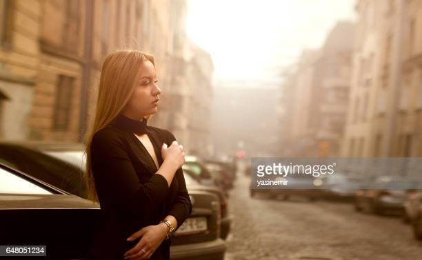 the girl posing - golden hour stock pictures, royalty-free photos & images