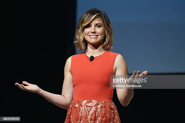 The Girl Project advisory board member Sophia Bush speaks onstage during Glamour The Power Of An Educated Girl panel at The Apollo Theater on...