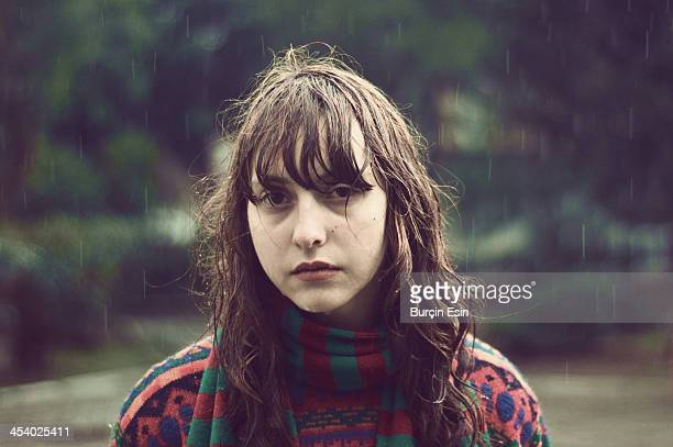 the girl under the rain - wet hair stock pictures, royalty-free photos & images