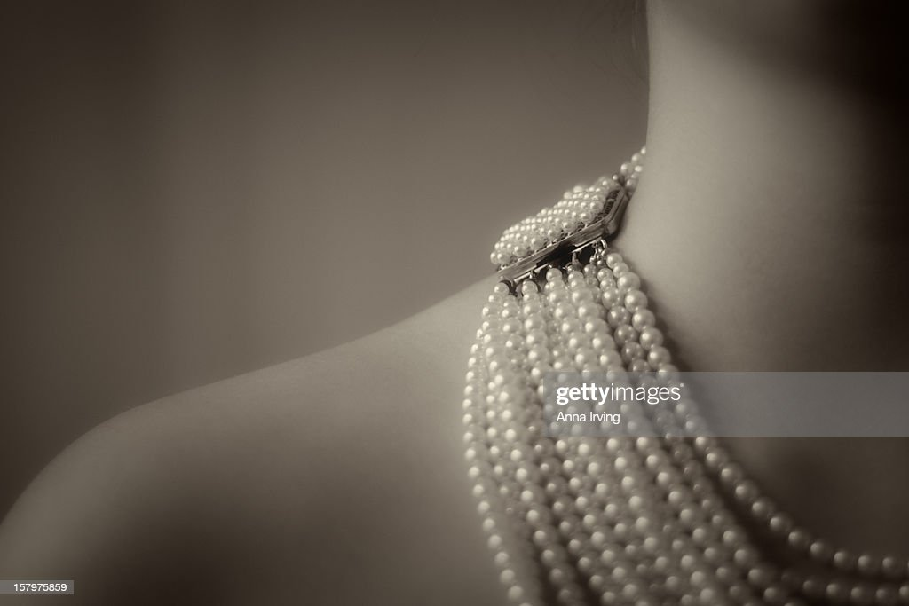 the girl with the pearl... necklace! : Stock Photo
