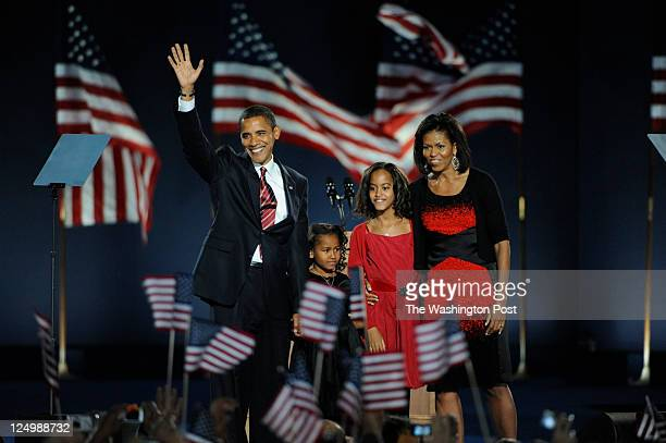 The girls accompanied their parents when Obama gave his Election Day victory speech in Chicago's Grant Park