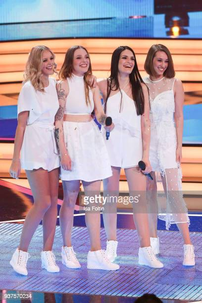 The girls band 'Lichtblick' perform during the tv show 'Willkommen bei Carmen Nebel' on March 24 2018 in Hof Germany The show will be aired on March...