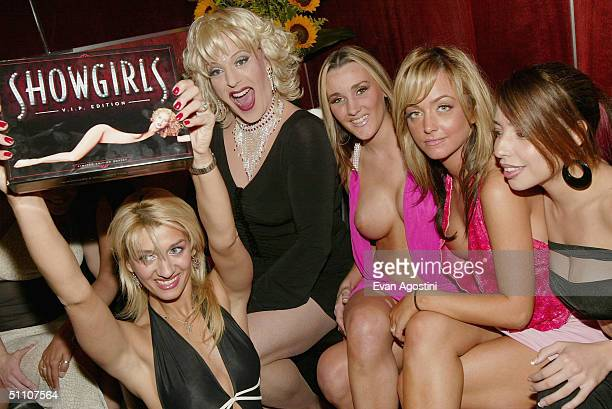 The girls from Scores Gentlemens Club and hostess Cashetta attend a Showgirls special screening afterparty to celebrate the VIP limited edition...