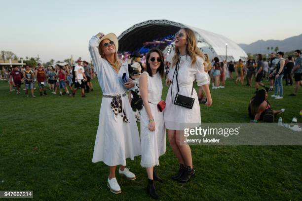 The girls from Shoppisticated Maike Schmitz Sonja Paszkowiak Kira Tolk wearing a complete MarcCain look during day 1 of the 2018 Coachella Valley...