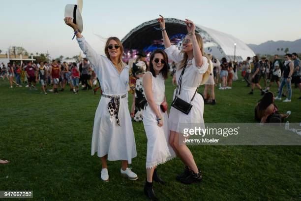 The girls from Shoppisticated Maike Schmitz, Sonja Paszkowiak, Kira Tolk wearing a complete MarcCain look during day 1 of the 2018 Coachella Valley...