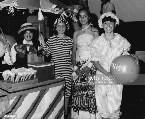 The girls getting ready for the parades. There also was a boy in the parade. He was 17 year old Harry Prescott.L to r Girls from different nations...