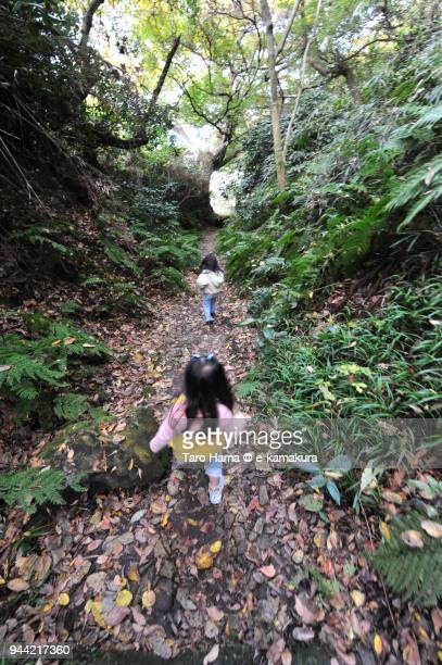 The girls hiking on the ancient road in Kamakura in Japan