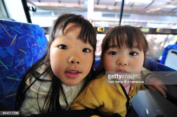 The girls in the bus in Japan