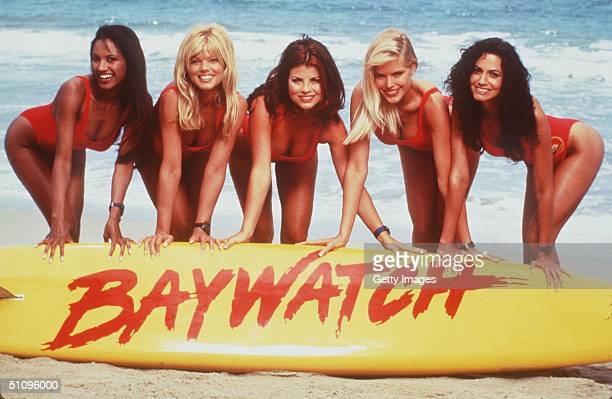 The Girls Of Baywatch From LR Traci Bingham Donna D'Errico Yasmine Bleeth Gena Lee Nolin And Nancy Valen Baywatch