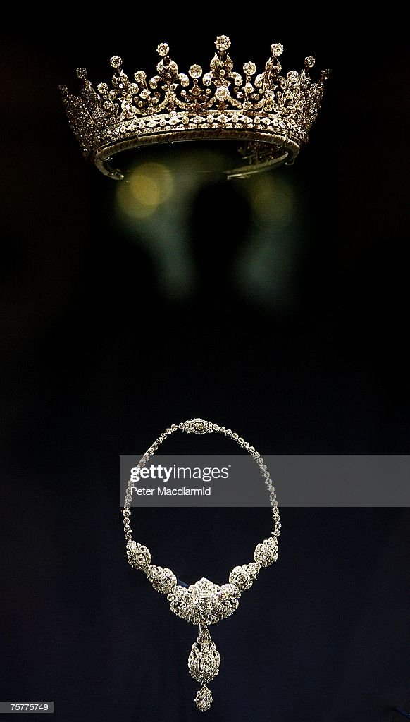 The 'Girls of Great Britain' tiara from Garrards and a Cartier diamond and platinum necklace are displayed at the 'Royal Wedding: 20 Novermber 1957' exhibition at Buckingham Palace on July 27, 2007 in London. Queen Elizabeth II will be the first reigning sovereign to celebrate a 60th wedding anniversary. This new exhibition will mark the occasion by recreating the day in 1947 when Princess Elizabeth married The Duke of Edinburgh at Westminster Abbey. The collection of archive film footage, behind the scenes preparations, dresses, jewels and gifts reflect the mood of public rejoicing that swept the nation in the immediate aftermath of World War II.