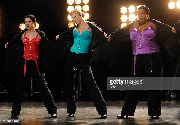 """The girls of New Directions perform in """"The Power of Madonna"""" episode of GLEE airing Tuesday, April 20 on FOX. Pictured L-R: Lea Michele, Heather..."""