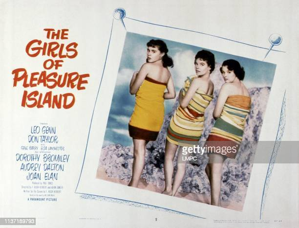 The Girls Of Pleasure Island lobbycard from left Dorothy Bromiley Audrey Dalton Joan Elan 1953