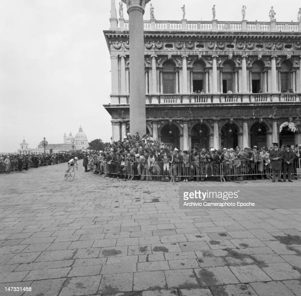 The 'Giro d'Italia' bycicle race in St Mark Square Venice 1978