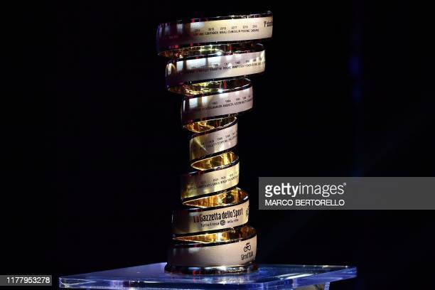 """The Giro d'Italia's """"Never ending trophy"""" is pictured during the presentation of the Giro d'Italia 2020 on October 24, 2019 in Milan."""