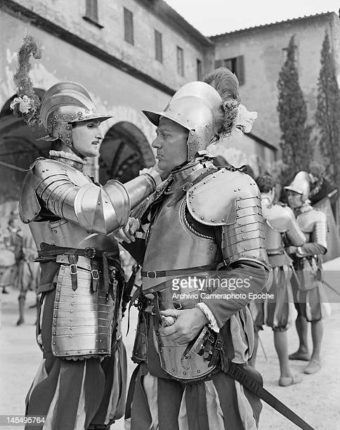 The Giuoco del Calcio Fiorentino an early form of football still played in Florence Italy circa 1955 The Captain of the Guard is pictured here