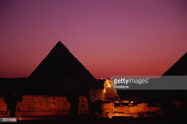 the giza pyramids at dusk - the sphinx stock pictures, royalty-free photos & images
