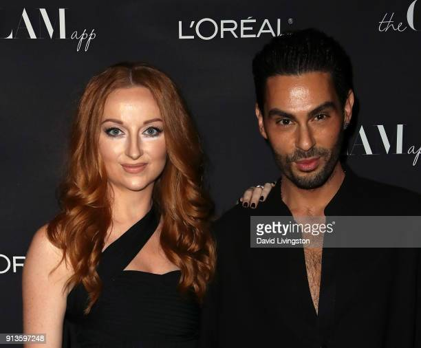 The Glam App Co-Chief Executive Officer Katrina Barton and makeup artist, hairstylist and the Glam App founder & CCO Joey Maalouf attend the Glam App...